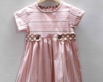 Easter stripe dress, little girls dress, girls dresses, pink dress, stripe dress, easter dress, little girls dresses, modest girls dress,