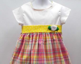 Little girls dress, plaid girls dress, yellow girls dress, short sleeve dress, little girls dresses, play dress, modest girls dress,