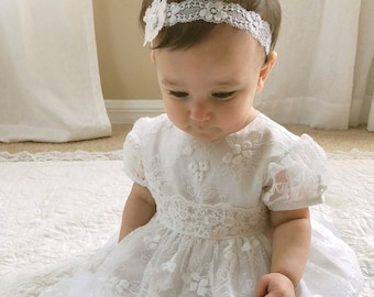 0d22336c3 Cordelia baby lace gown, cotton and allover lace gown, christening gown, baptism  gown, blessing dress, white lace infant dress, lace dress