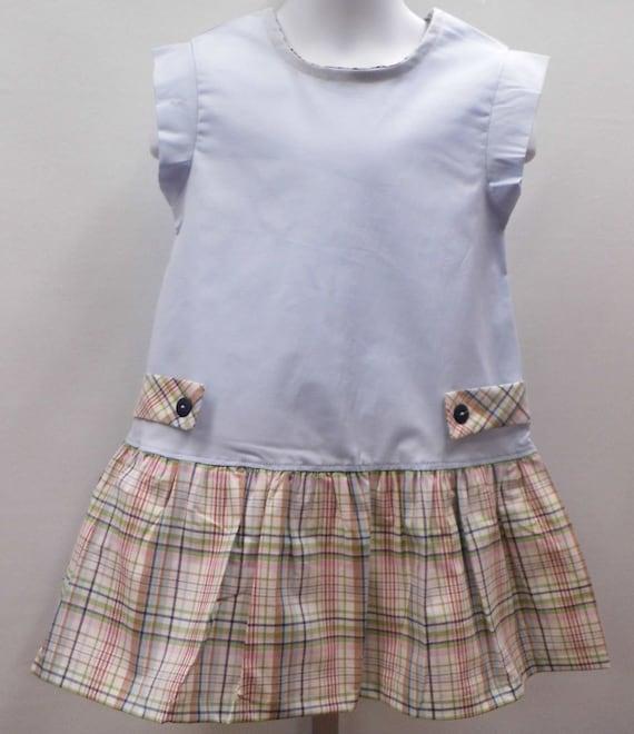 82ff7c30e SALE Blue cotton and plaid little girl dress plaid girl