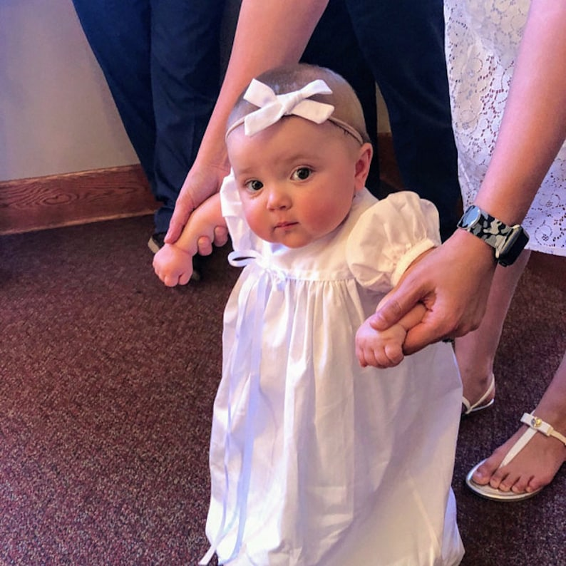 white baby gown dedication gown christening gown Darcey Kate infant embroidered cotton gown blessing gown infant dress baptism gown