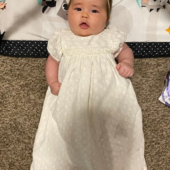milk white baby dress blessing gown Baptism gown,Christening gown NEW Meghan cotton embroidery and mesh lace gown infant milk white gown