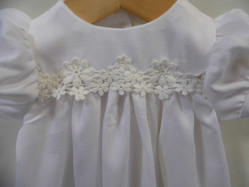 baby dress SALE Baptism gown Blessing gown Dedication gown Lucy lined white cotton pique lace infant  Christening gown