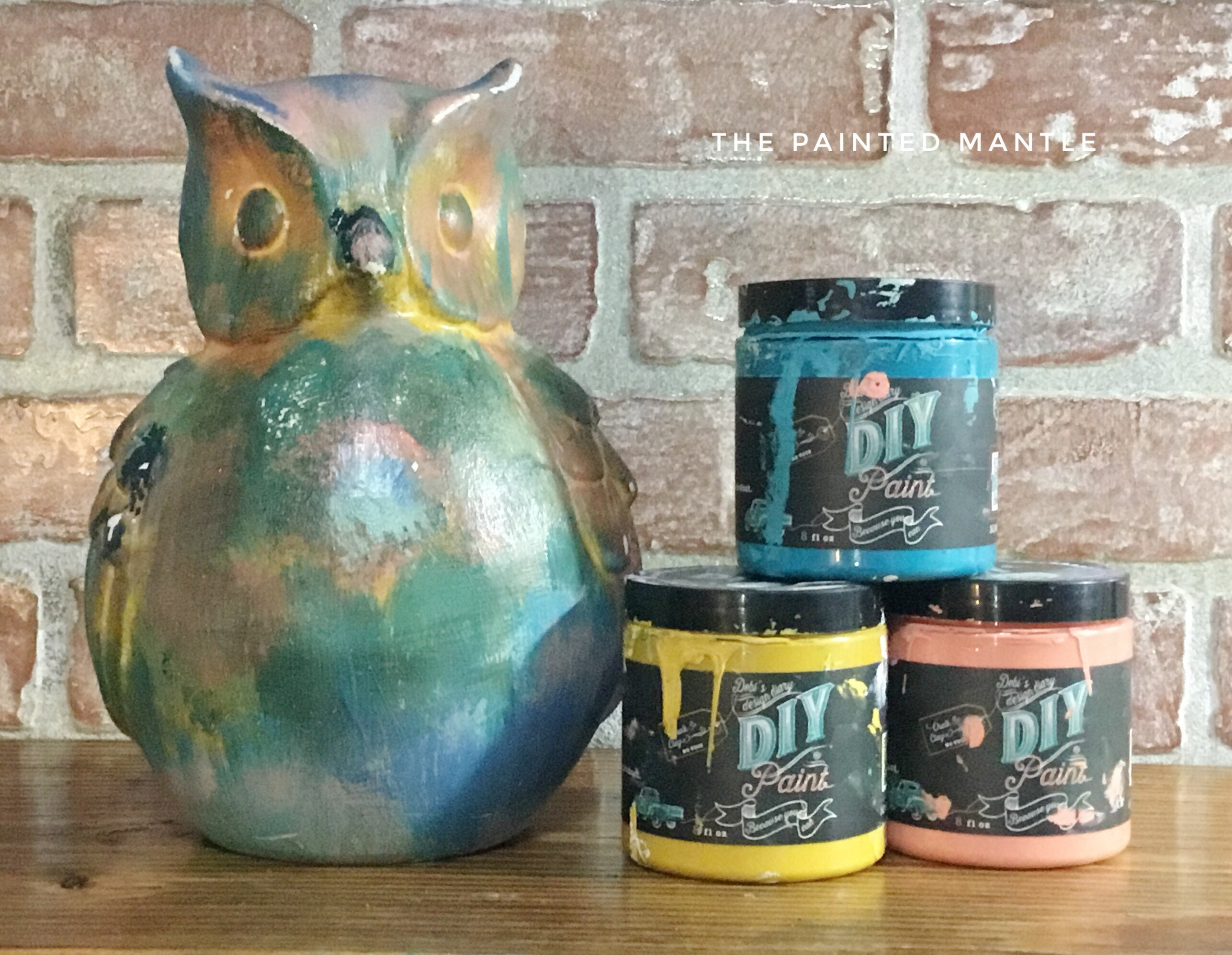 Decorative Owl Hand Painted Coral Yellow Turquoise Navy
