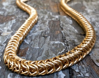 Chainmaille Necklace - Box Chain Pattern - 14K Solid Gold