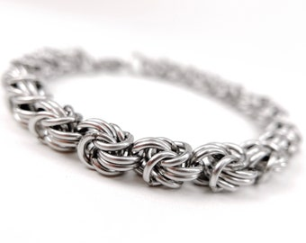 Welded-Link Chainmaille Bracelet - Rosetta Pattern - Stainless Steel