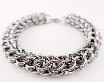 Welded-Link Chainmaille Bracelet - Full Persian Chain - Stainless Steel Jewelry