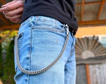 Welded-Link Chainmaille Wallet Chain - Full Persian Pattern - Stainless Steel