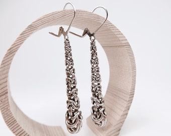 Welded Chainmaille - Long Teardrop Earrings - Byzantine