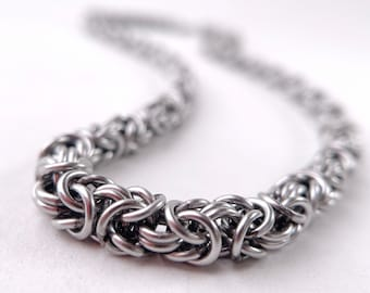 Chainmaille Necklace, Byzantine Pattern, Waterproof Stainless Steel, Welded-Link