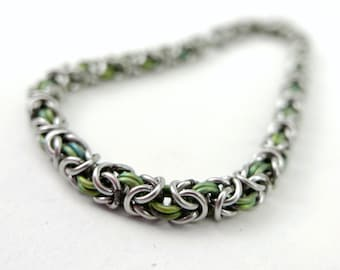 Welded-Link Thin Byzantine Bracelet - Green Anodized Titanium Color & Stainless Steel