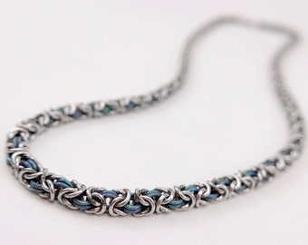 Welded-link Chainmaille - Thin Byzantine Necklace - Blue Anodized Titanium