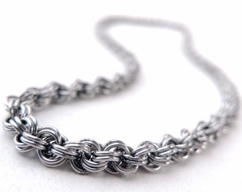 Thin Chainmaille Necklace, Stainless Steel, Kings Spiral, Welded-Link