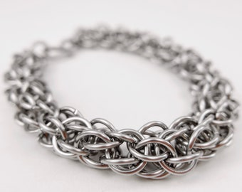 Chainmaille Bracelet - Stainless Steel - Chaos Theory Pattern