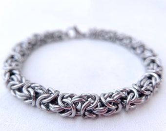 Welded Chainmaille Bracelet - Byzantine - Stainless Steel