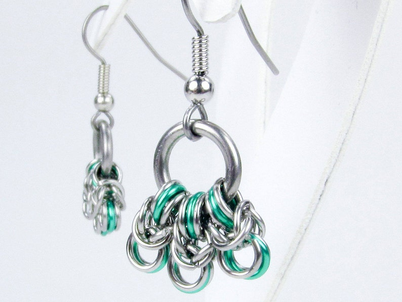 Green Byzantine - Chainmaille Earrings