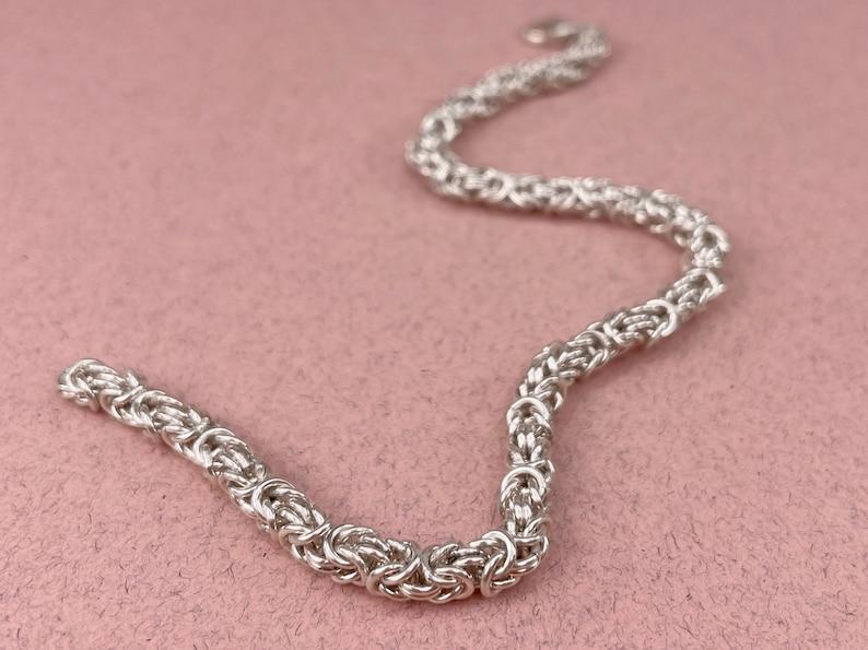Hand Welded Links Solid Silver Byzantine Bracelet