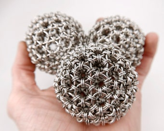 Chainmaille Juggling Balls - Welded Link Japanese Sphere Pattern