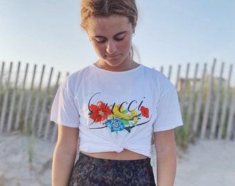 Vintage T-Shirt | GUCCI 80's Flora Floral Logo Graphic Shirt Tee Boho Bohemian Flowers | Size S
