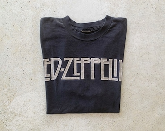 Vintage T-Shirt | LED ZEPPELIN Rock Band Concert Tour Top Tee Pullover Shirt Faded Distressed Black Gray | Size L/XL