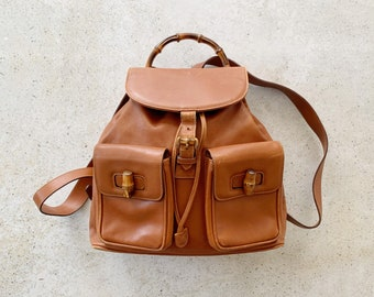 Vintage Bag | GUCCI GG Bamboo Backpack Shoulder Bag 80's 90's Streetwear Leather Brown Tan Gold