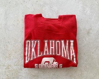 Vintage Sweatshirt | OKLAHOMA SOONERS Football Raglan Pullover Top Shirt Sweater 80's Red | Size L/XL