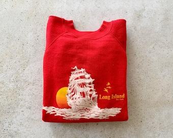 Vintage Sweatshirt | LONG ISLAND NY East End Raglan Pullover Top Shirt Sweater Coastal Ocean Beach Nautical Sailing Red | Size Large