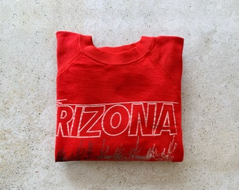 Vintage Sweatshirt   ARIZONA Raglan Pullover Top Shirt Sweater Desert Cactus Boho Bohemian Red   Size L