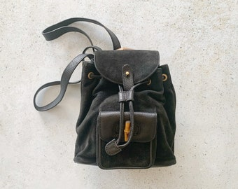 Vintage Bag | GUCCI Bamboo Mini Backpack Suede Leather Black