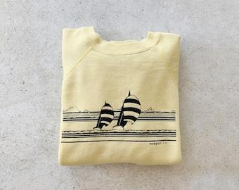 Vintage Sweatshirt | NEWPORT RI Raglan Pullover Sweatshirt Sweater Beach Coastal Nautical Sailing Boating 80's Yellow Blue | Size L