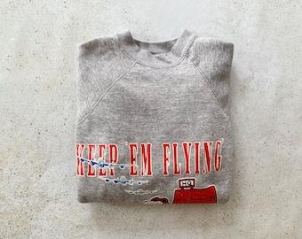Vintage Sweatshirt   SNOOPY Peanuts Cartoon Caricature Raglan Pullover Top Shirt Sweater Aviation Flying Gray   Size M