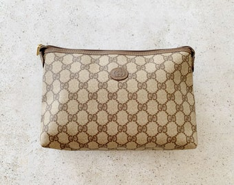 Vintage Bag | GUCCI GG Logo Monogram Pouch Clutch Classic 80's Brown Tan Beige