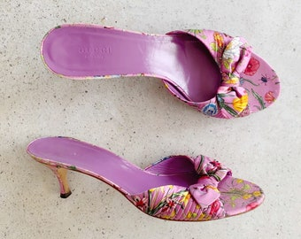 Vintage Shoes | GUCCI Flora Floral Silk Satin Mules Slides Sandals Heels Spring Purple 90s | Size 9.5 US