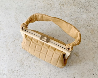 Vintage Bag | CHANEL Leather Chocolate Frame Satchel Clutch Pouch 80's 90's Lambskin Brown Tan Camel Neutral