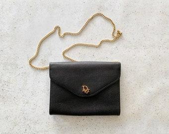 Vintage Bag | DIOR Logo Shoulder Clutch Convertible Evening Bag Black Gold