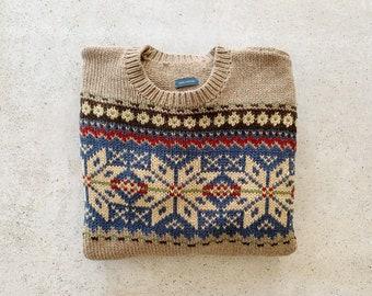 Vintage Sweater | RALPH LAUREN Boyfriend Knit Woven Pullover Top Shirt Sweater Cotton Beige Tan Cream Blue | Size S/M