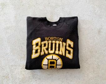 Vintage Sweatshirt   BOSTON BRUINS 80's 90's Raglan Pullover Top Shirt Sweater Black Yellow   Size L/XL