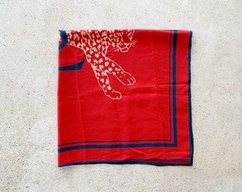 Vintage Scarf | YSL Silk Scarf Wrap Shawl Animal Cheetah Panther Red Blue