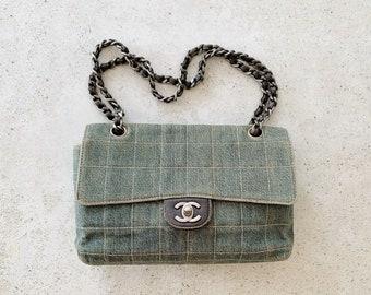 Vintage Bag | CHANEL Denim Quilted CC Logo Turnlock Chain Flap Bag Purse Blue Gray Silver