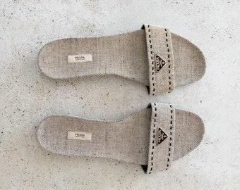 Vintage Shoes   PRADA Sandals Mules Slides Logo Twill Classic 90's Black White   Size 40 EU / 9.5 - 10 US