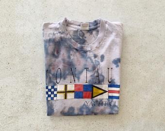 Vintage T-Shirt | MONTAUK Yacht Club Coastal Nautical Beach Tie Dye Pullover Shirt 90's Blue | Size M