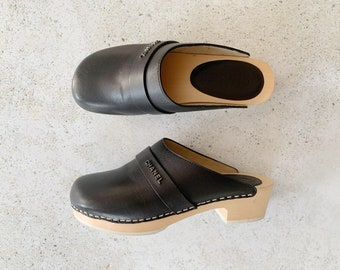 Vintage Shoes | CHANEL Leather Wood Clogs Logo 90's Black | Size 36.5 EU / 6 - 6.5 US