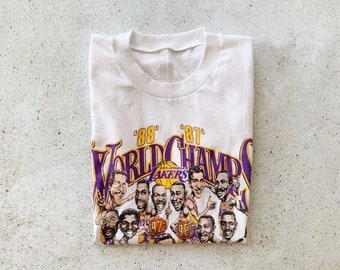Vintage T-Shirt | LA LAKERS Basketball 80s Shirt NBA Streetwear White Purple | Size S