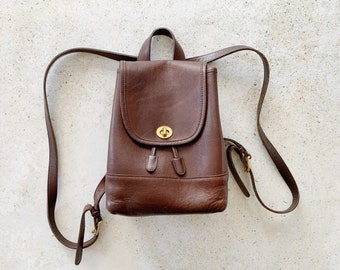 Vintage Bag | COACH Turnlock Leather Mini Backpack 80's Brown