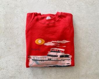 Vintage Sweatshirt   SAG HARBOR Hamptons Long Island 90's Raglan Pullover Top Shirt Sweater Coastal Nautical Ocean Boat Red   Size M/L