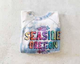 Vintage Sweatshirt | SEASIDE OREGON Tie Dye Beach Coastal Nautical Summer Raglan Pullover Sweatshirt | Size S