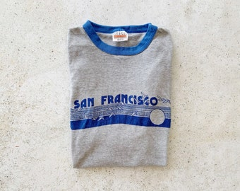 Vintage T-Shirt | SAN FRANCISCO Ringer 80s Coastal Surf Beach Shirt | Size L