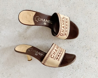 Vintage Shoes | CHANEL Woven Raffia Straw Logo Sandals Slides Mules | Size 35.5 EU / 5 - 5.5 US