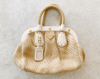 Vintage Bag | PRADA Jute Raffia Straw Hemp Tote Satchel Beach Bag Natural Earthy Tan Beige White