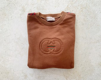 Vintage Sweatshirt | GUCCI Logo GG 80's Sweatshirt Sweater Pullover Brown | Size Small